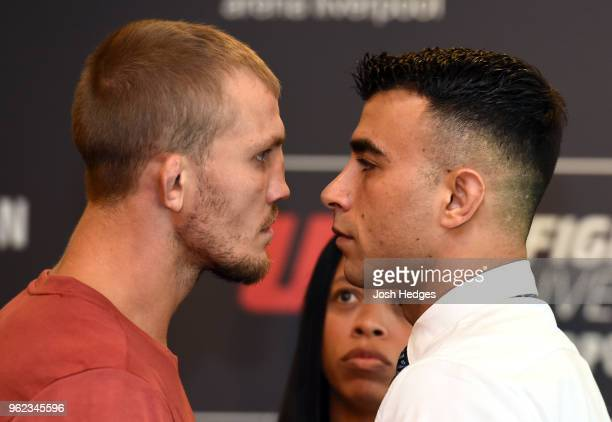 Opponents Jason Knight and Makwan Amirkhani of Kurdistan face off during the UFC Ultimate Media Day at BT Convention Centre on May 25 2018 in...