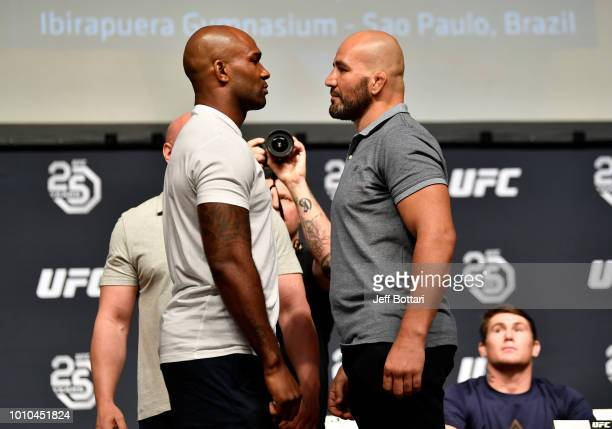 Opponents Jimi Manuwa and Glover Teixeira face off during the UFC press conference inside the Orpheum Theater on August 3 2018 in Los Angeles...
