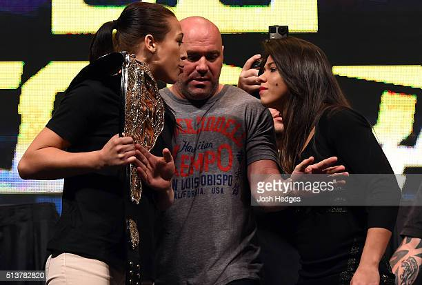 Opponents Joanna Jedrzejczyk and Claudia Gadelha face off during the UFC Unstoppable launch press conference at the MGM Grand Garden Arena on March 4...