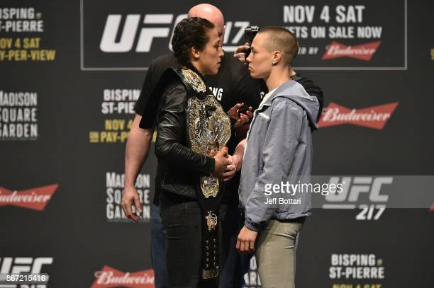 Opponents Joanna Jedrzejczyk and Rose Namajunas face off during the UFC 217 news conference inside TMobile Arena on October 6 2017 in Las Vegas Nevada