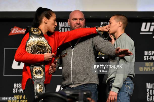 Opponents Joanna Jedrzejczyk of Poland and Rose Namajunas face off during the UFC 217 Press Conference inside Madison Square Garden on November 2...