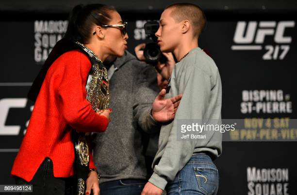 Opponents Joanna Jedrzejczyk of Poland and Rose Namajunas face off during the UFC 217 Press Conference inside Madison Square Garden on November 2,...