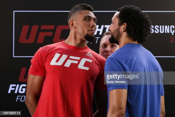 Opponents Johnny Walker of Brazil and Justin Ledet of the United States face off during the UFC Fight Night ultimate media day at Gran Marquise Hotel...