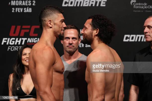 Opponents Johnny Walker of Brazil and Justin Ledet of the United States face off during the UFC Fight Night Assuncao v Moraes 2 WeighIns at CFO...