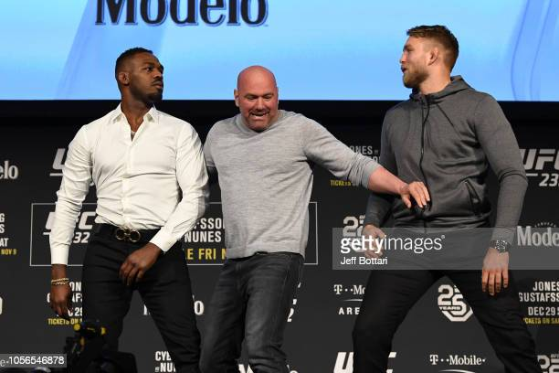Opponents Jon Jones and Alexander Gustafsson of Sweden face off during the UFC 232 press conference inside Hulu Theater at Madison Square Garden on...