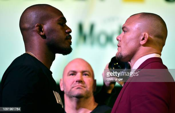 Opponents Jon Jones and Anthony Smith face off during the UFC 235 Press Conference inside the David Copperfield Theater at MGM Grand on January 31...