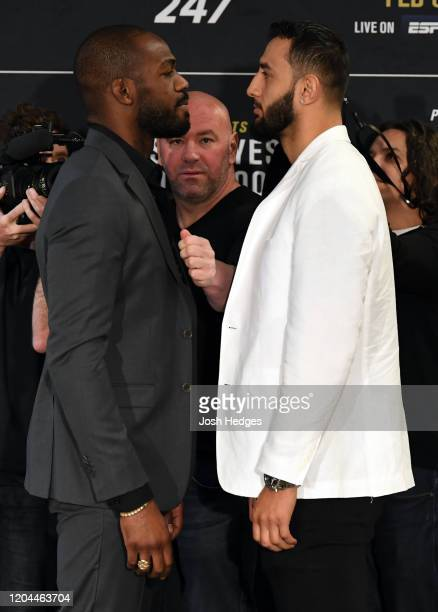 Opponents Jon Jones and Dominick Reyes face off during the UFC 247 Ultimate Media Day at the Crowne Plaza Houston River Oaks on February 06 2020 in...