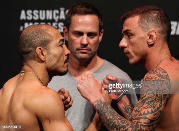Opponents Jose Aldo of Brazil and Renato Moicano of Brazil face off during the UFC Fight Night Assuncao v Moraes 2 Weigh-Ins at CFO Centro de...