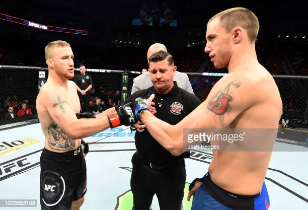 Opponents Justin Gaethje and James Vick face off prior to their lightweight fight during the UFC Fight Night event at Pinnacle Bank Arena on August...