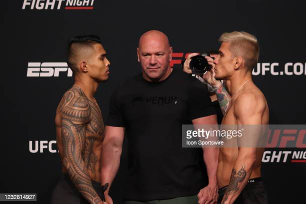 Opponents Kai Kamaka and TJ Brown face off during the UFC Fight Night: Reyes v Prochazka Weigh-in at UFC Apex on April 30 in Las Vegas, Nevada.