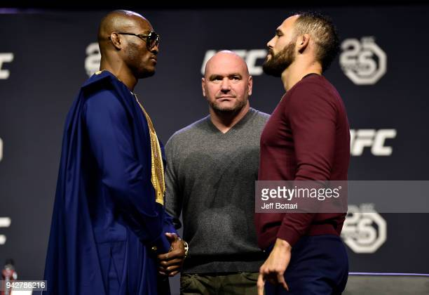 Opponents Karmaru Usman and Santiago Ponzinibbio face off during the UFC press conference inside Barclays Center on April 6 2018 in Brooklyn New York