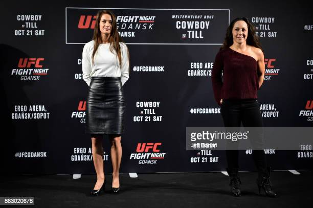 Opponents Karolina Kowalkiewicz of Poland and Jodie Esquibel pose for media during the UFC Fight Night Media Day inside Ergo Arena on October 19 2017...