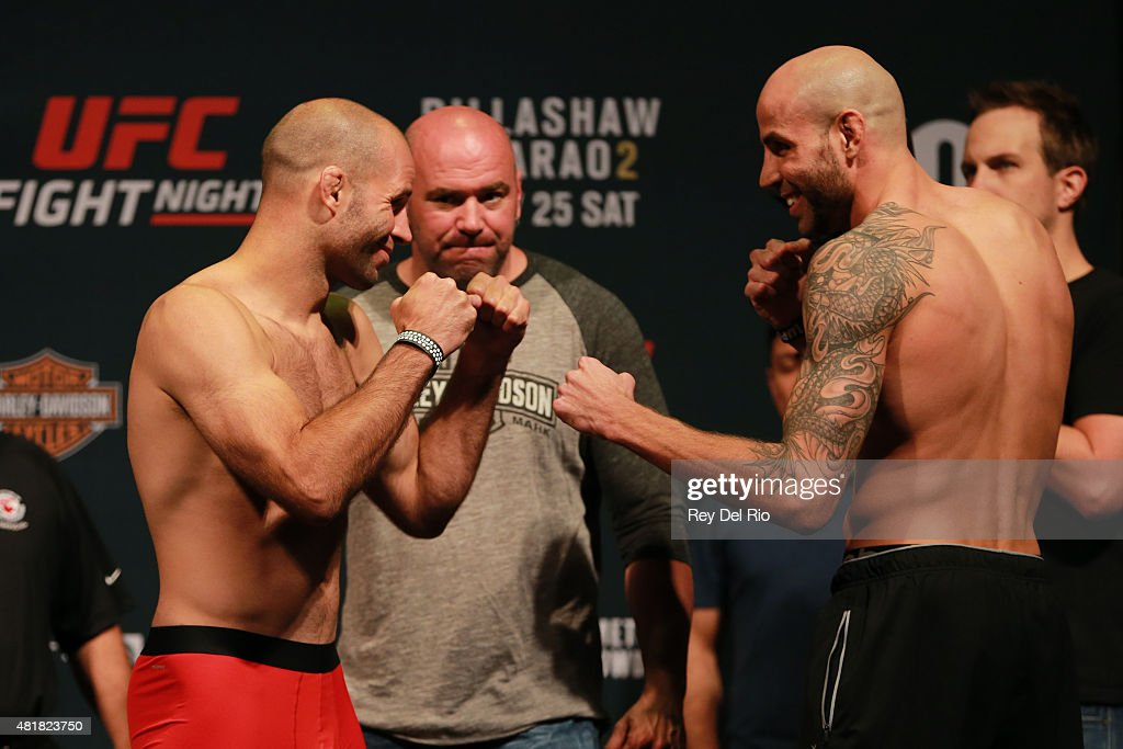Opponents Kenny Robertson and Ben Saunders face off during the UFC weigh-in at the United Center on July 24, 2015 in Chicago, Illinois.