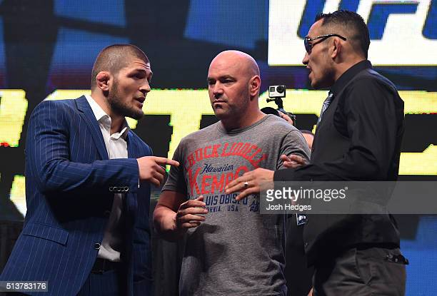 Opponents Khabib Nurmagomedov and Tony Ferguson face off during the UFC Unstoppable launch press conference at the MGM Grand Garden Arena on March 4...