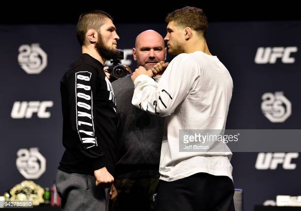 Opponents Khabib Nurmagomedov of Russia and Al Iaquinta face off during the UFC press conference inside Barclays Center on April 6 2018 in Brooklyn...