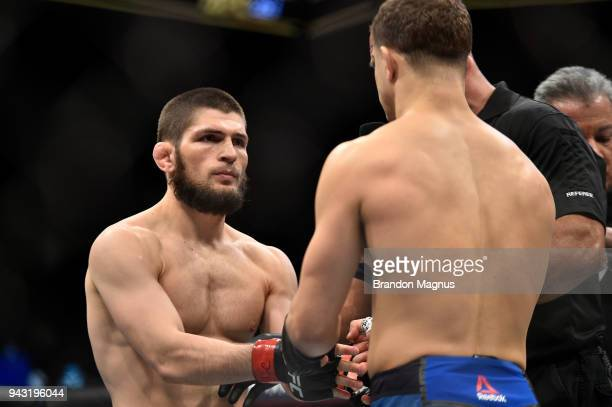 Opponents Khabib Nurmagomedov of Russia and Al Iaquinta face off prior to their lightweight title bout during the UFC 223 event inside Barclays...