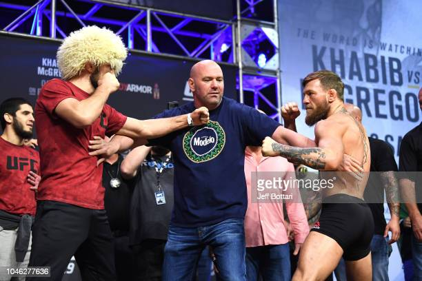 Opponents Khabib Nurmagomedov of Russia and Conor McGregor of Ireland face off during the UFC 229 weighin inside TMobile Arena on October 5 2018 in...