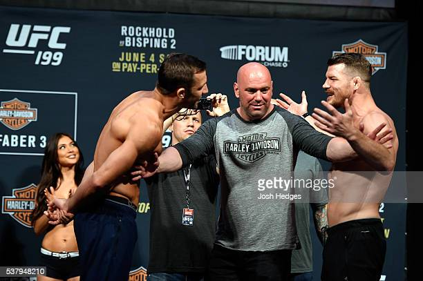 Opponents Luke Rockhold and Michael Bisping of England face off during the UFC 199 weighin at the Forum on June 3 2016 in Inglewood California