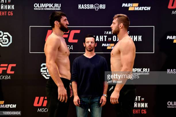 Opponents Magomed Ankalaev of Russia and Marcin Prachnio of Poland face off during the UFC Fight Night weighin event at Hyatt Regency Moscow...