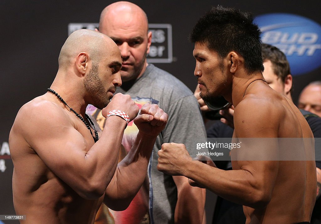 Opponents Manny Gamburyan and Michihiro Omigawa face off during the UFC on FOX weigh in at Staples Center on August 3, 2012 in Los Angeles, California.