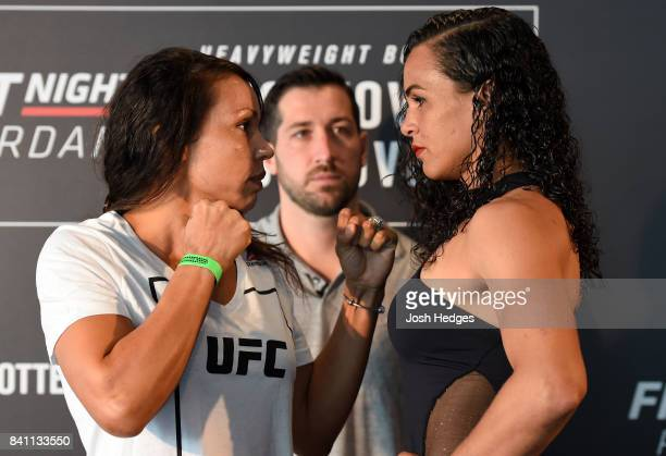 Opponents Marion Reneau and Talita Bernardo of Brazil face off during the UFC Ultimate Media Day at the Inntel Rotterdam Centre Hotel on August 31...