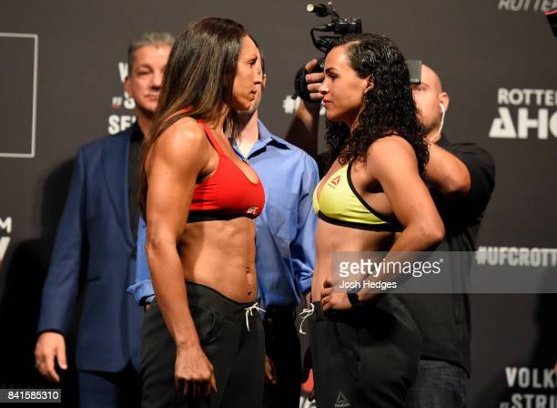 Opponents Marion Reneau and Talita Bernardo of Brazil face off during the UFC Fight Night Weighin at the Rotterdam Ahoy on September 1 2017 in...