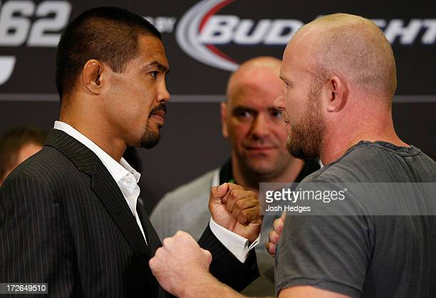 Opponents Mark Munoz and Tim Boetsch face off during the final UFC 162 press conference at the MGM Grand Hotel/Casino on July 4 2013 in Las Vegas...