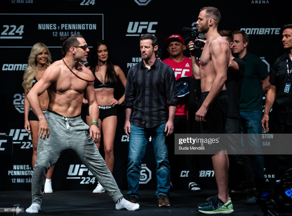 Opponents Markus Perez (L) of Brazil and James Bochnovic of the United States face off during the UFC 224 weigh-in at Jeunesse Arena on May 11, 2018 in Rio de Janeiro, Brazil.