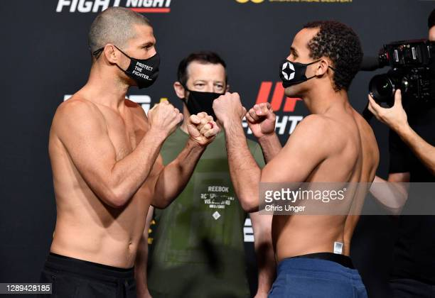 Opponents Matt Wiman and Jordan Leavitt face off during the UFC Fight Night weigh-in at UFC APEX on December 04, 2020 in Las Vegas, Nevada.