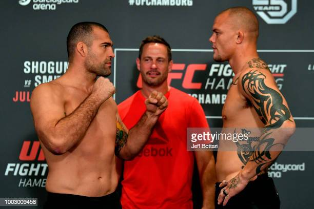 Opponents Mauricio Rua of Brazil and Anthony Smith face off during the UFC Fight Night Weighin event at the Radisson Blu Hotel on July 21 2018 in...