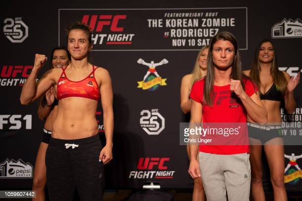 Opponents Maycee Barber and Hannah Cifers faceoff during the UFC Fight Night weighin on November 9 2018 in Golden Colorado