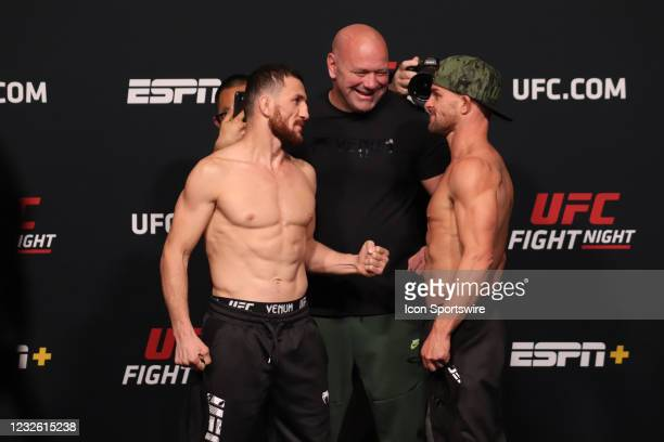 Opponents Merab Dvalishvili of Georgia and Cody Stamann face off during the UFC Fight Night: Reyes v Prochazka Weigh-in at UFC Apex on April 30 in...