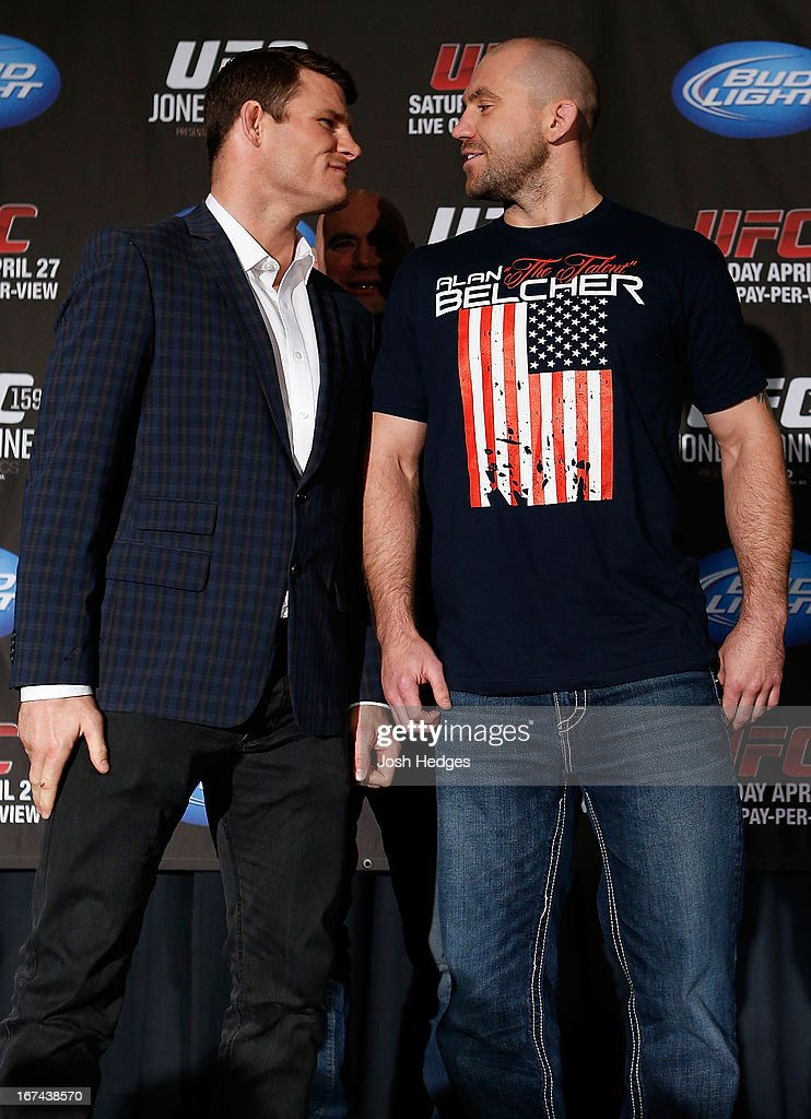 Opponents Michael Bisping and Alan Belcher face off during