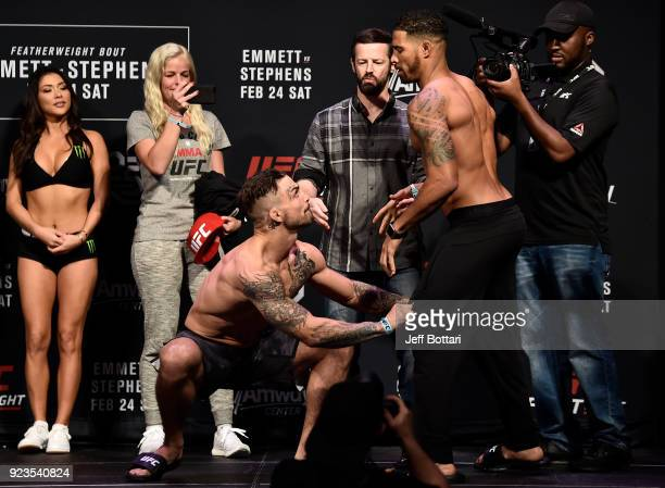 Opponents Mike Perry and Max Griffin face off during the UFC Fight Night Weighin at Amway Center on February 23 2018 in Orlando Florida