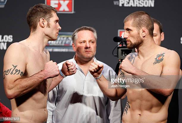 Opponents Nick Penner and Cody Donovan face off during the UFC on FX weigh in on December 14 2012 at Gold Coast Convention and Exhibition Centre in...