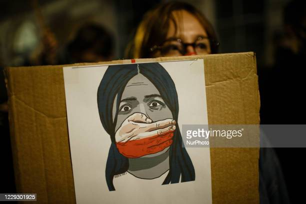 Opponents of Poland's new abortion restrictions demonstrate outside the Polish Embassy on Portland Place in London, England, on October 26, 2020. A...