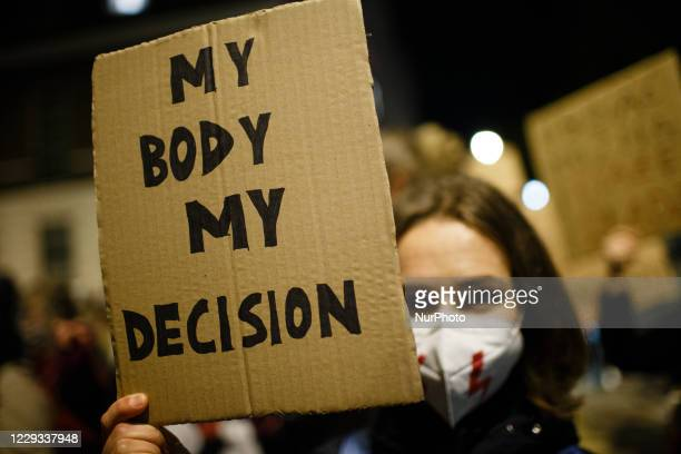 Opponents of Poland's new abortion restrictions demonstrate outside the Polish Embassy on Portland Place in London, England, on October 28, 2020. A...