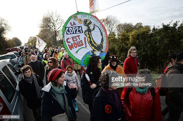 Opponents of the creation of an international airport near Nantes take part in a protest march against the project on December 5 2015 in...