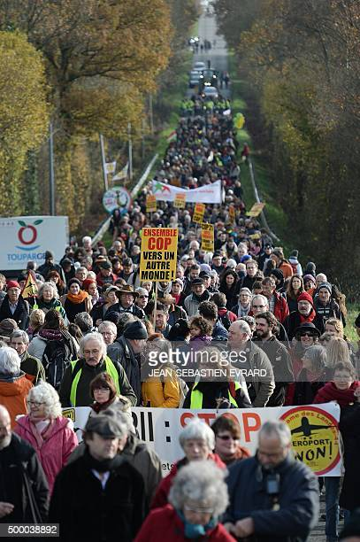 Opponents of the project for the creation of an international airport near Nantes take part in a march on December 5 2015 in NotreDamedesLandes...