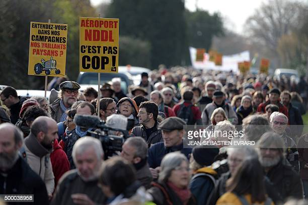 Opponents of the project of the international airport near Nantes take part in a protest march against the project on December 5 2015 in...