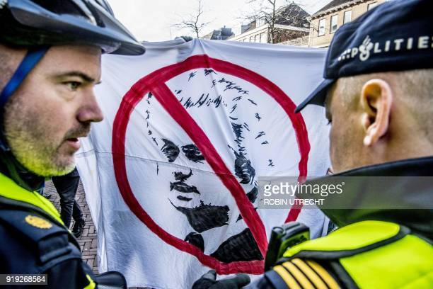 Opponents of the rightwing Party for Freedom hold a countercampaign in the center of Dordrecht the Netherlands on February 17 as the party's leader...