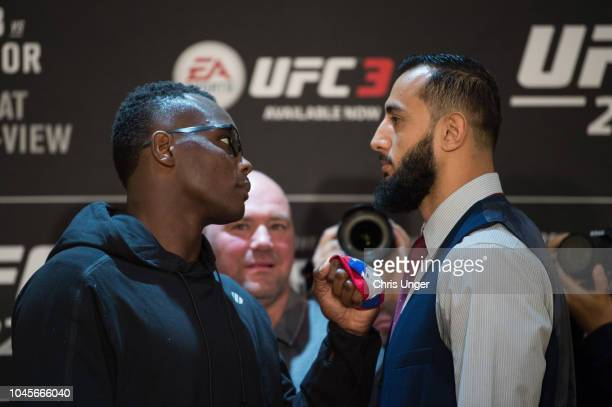 Opponents Ovince Saint Preux and Dominick Reyes face off during the UFC 229 Ultimate Media Day at the Park MGM Las Vegas on October 4 2018 in Las...