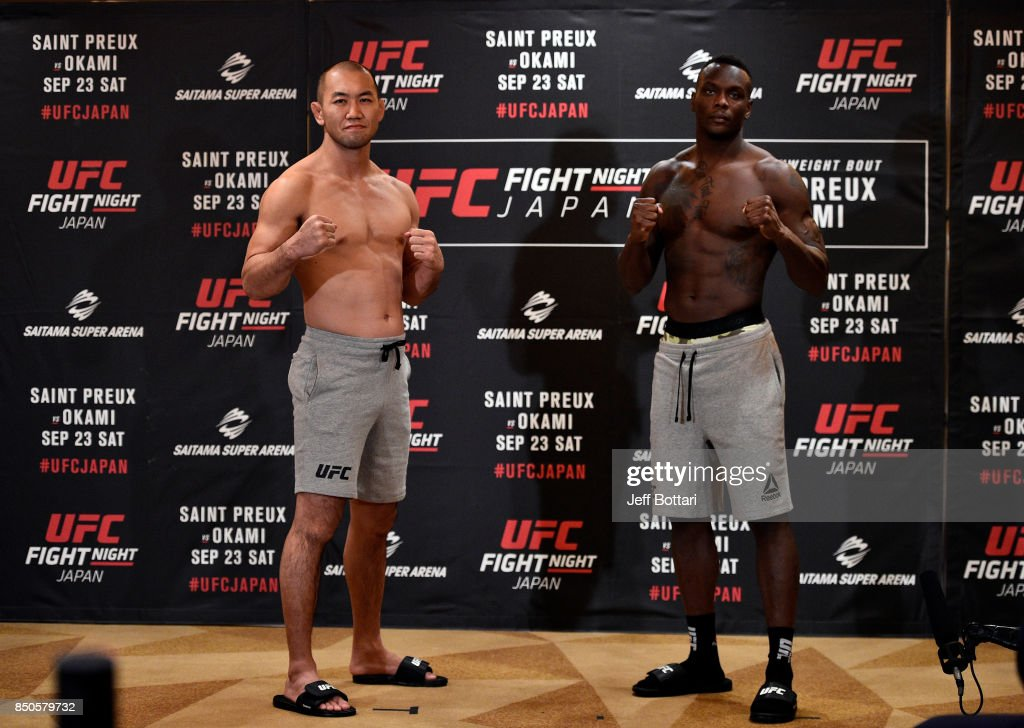 Opponents Ovince Saint Preux of the United States and Yushin Okami of Japan face off during the UFC Fight Night Weigh-in at the Hilton Tokyo on September 21, 2017 in Tokyo, Japan.