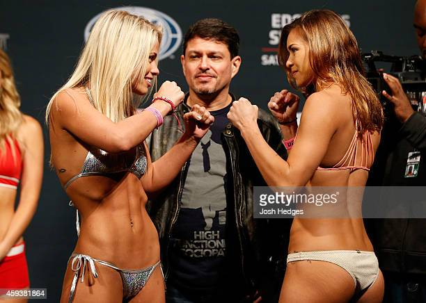 Opponents Paige VanZant and Kailin Curran face off during the UFC weighin at The Frank Erwin Center on November 21 2014 in Austin Texas