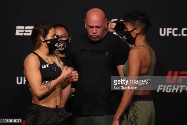 Opponents Poliana Botelho of Brazil and Luana Carolina of Brazil face off during the UFC Fight Night: Reyes v Prochazka Weigh-in at UFC Apex on April...
