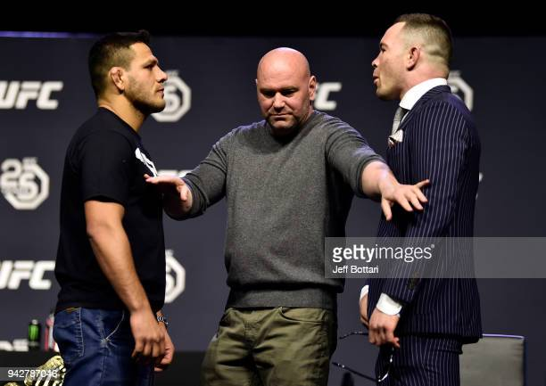 Opponents Rafael dos Anjos and Colby Covington face off during the UFC press conference inside Barclays Center on April 6 2018 in Brooklyn New York