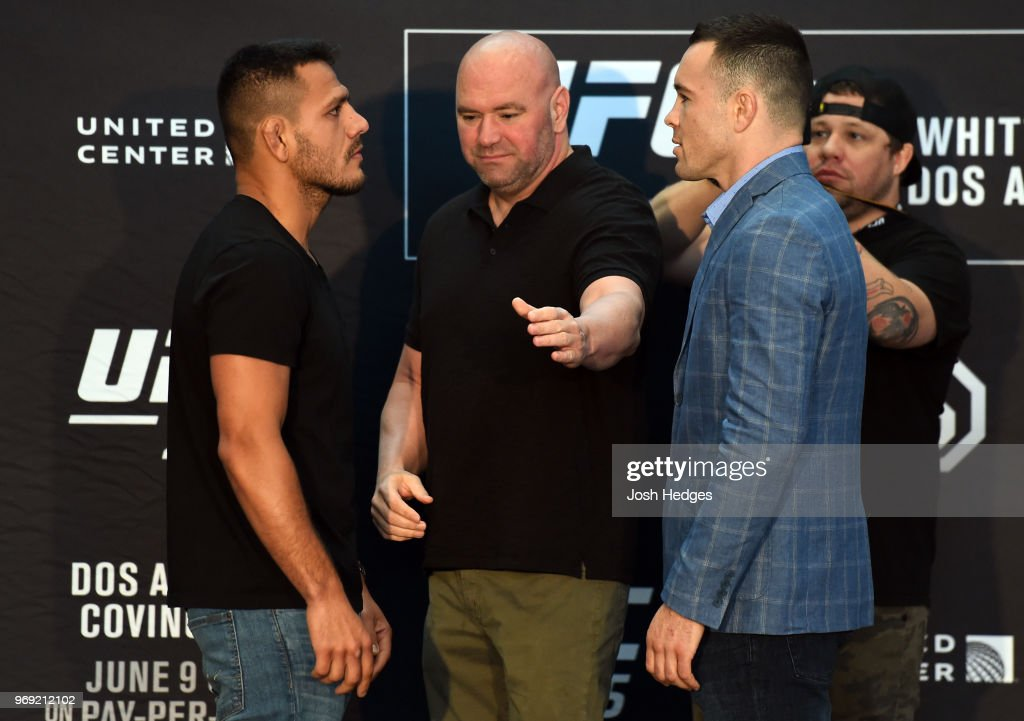 Opponents Rafael Dos Anjos of Brazil and Colby Covington face off during the UFC 225 Ultimate Media Day at the United Center on June 7, 2018 in Chicago, Illinois.