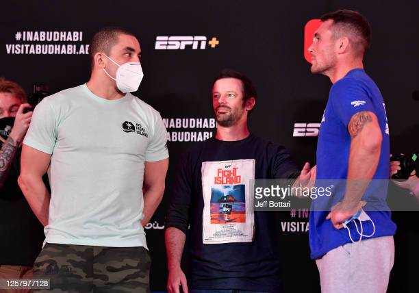 Opponents Robert Whittaker of New Zealand and Darren Till of England face off during the UFC Fight Night weighin inside Flash Forum on UFC Fight...