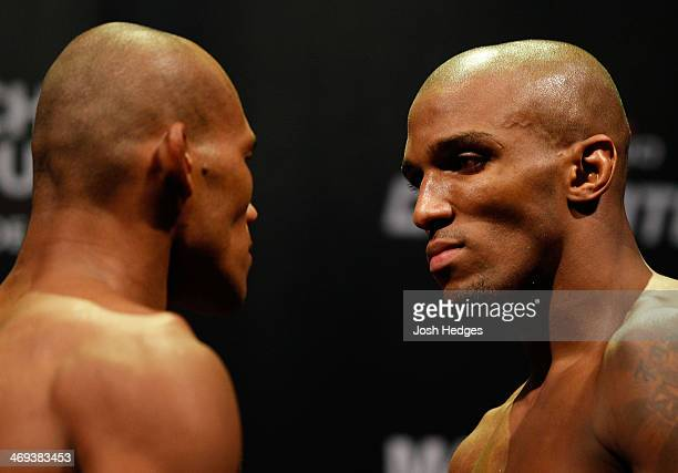 Opponents Ronaldo Jacare Souza and Francis Carmont face off during the UFC weighin at Arena Jaragua on February 14 2014 in Jaragua do Sul Santa...