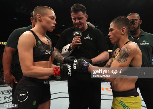 Opponents Rose Namajunas and Jessica Andrade of Brazil face off prior to their women's strawweight championship bout during the UFC 237 event at...